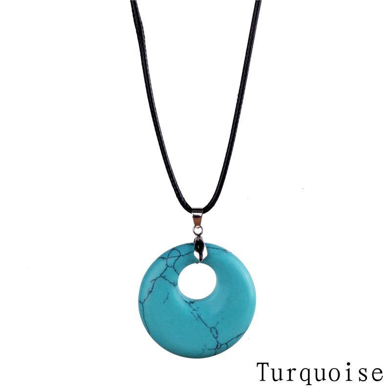 Mode Batu Alam Liontin Kalung Mata Harimau Hijau Batu Kristal Kulit Chains Kalung Perhiasan Hadiah Natal Lol Boho