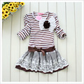 2017 spring girl dress kids long sleeve striped dress free shipping 110 130 140
