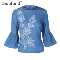Dioufond Cotton Women Blouses 2017 New Fashion Floral Embroiedery Shirt Women Half Flare Sleeve Camisas Femininas