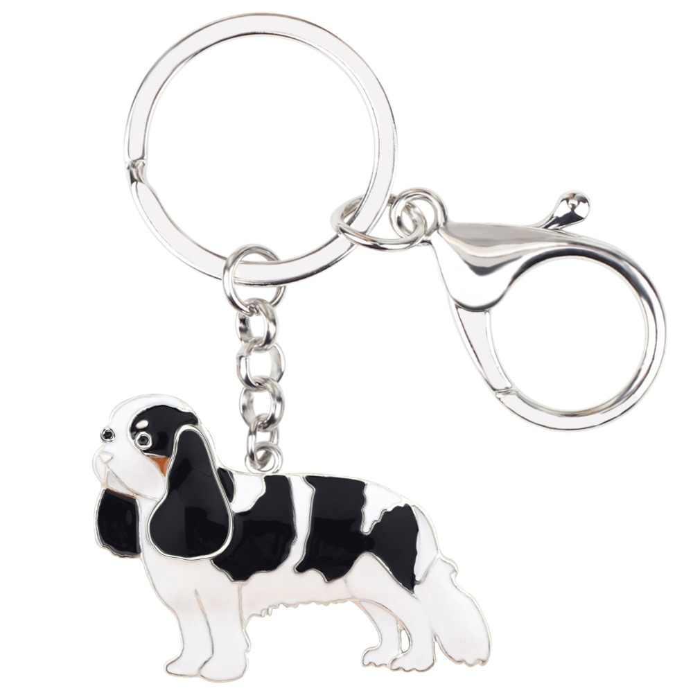 Bonsny эмаль металла кавалер король Шарль собака спаниеля брелки цепочки брелок кольца аниме ювелирные изделия для женщин девочек сумки автомобиля амулеты