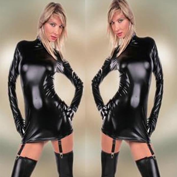 Распродажа Высокое качество Хорошая прочность облегающее платье женский кожаный латексный Облегающий комбинезон с длинными рукавами облегающее платье сексуальная танцевальная барная Клубная одежда