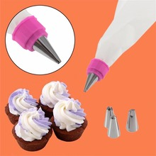 Kitchen Baking Pastry Accessories 1PCS Piping Cream Silicone Bags With 4PCS Icing Nozzles Cake Cupcake Decorating Set Tools