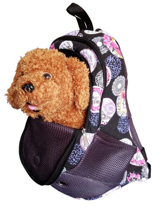 Pet Carrier Shoulders Back Front Pack Dog Cat Travel Bag Mesh Backpack Head out Design Travel Adjustable Shoulder Strap