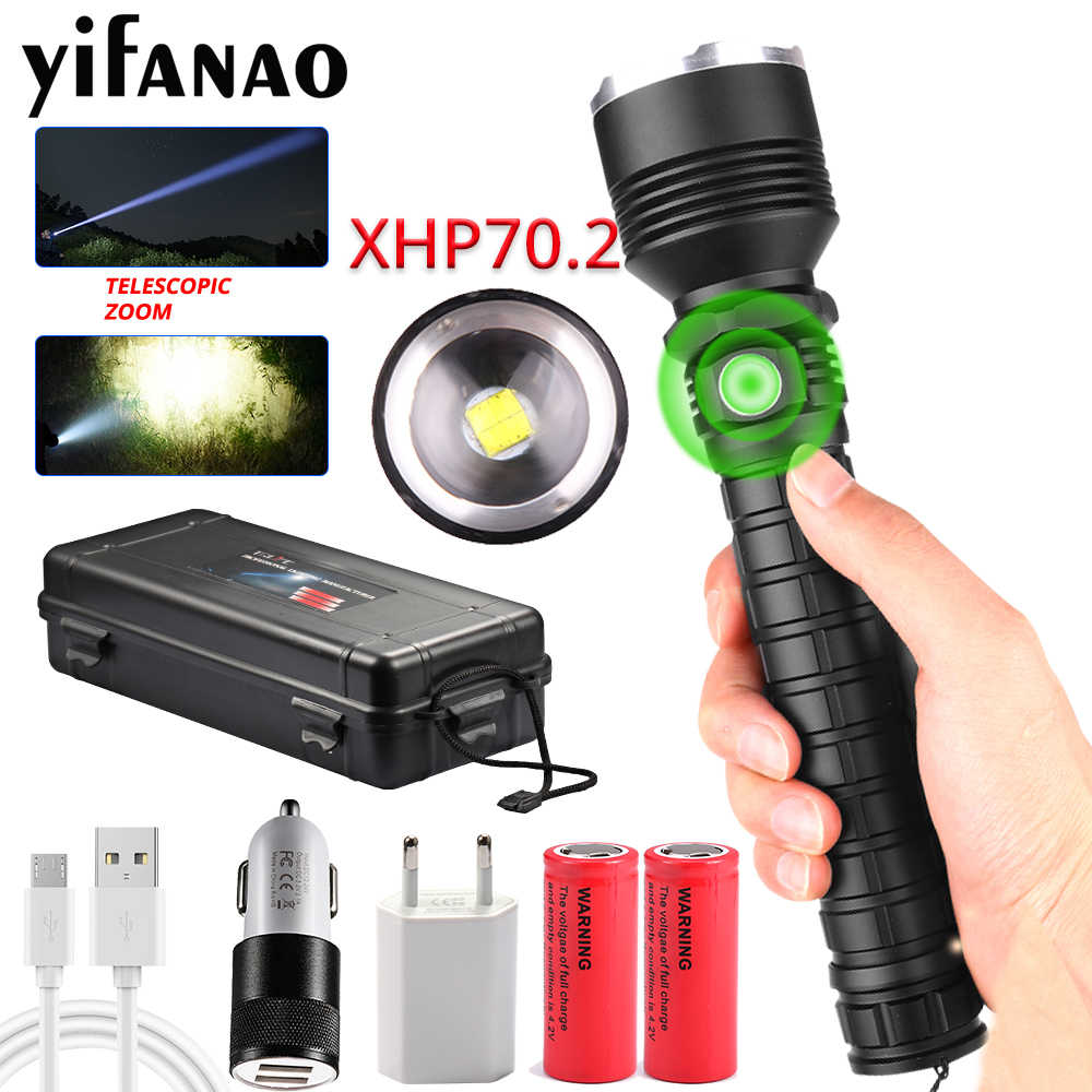 80000LM XLamp Ultra Bright XHP70.2 LED Flashlight XHP50 Powerful Rechargeable USB Zoom Torch 18650 26650 Hunting Lamp