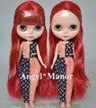 Бесплатная доставка обнаженная блит куклы, Красный + каштановые волосы, Большой глаз куклы, Для подарка девушке, Pj0012