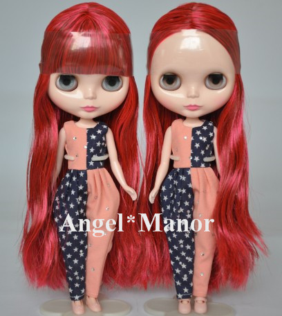 Free shipping Nude Blyth Doll, red+brown hair, big eye doll,For Girl's Gift,PJ0012 free shipping nude blyth doll black5 hair big eye doll for girl s gift pjb005