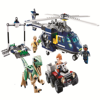 Jurassic Parked Blue's Helicopter Pursuit 415Pcs Bricks Compatible LegoINGL Jurassic World Model Building Blocks lepinING 10925