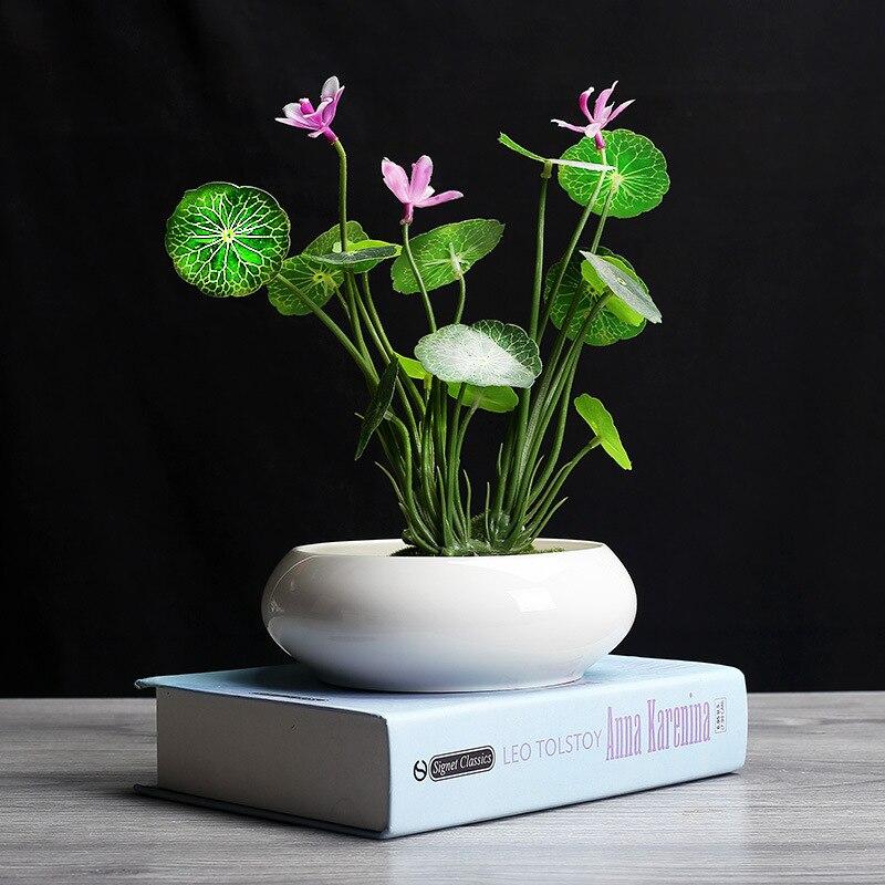 2019 White Daffodil White Ceramic Flower Pot Chinese Modern Aquatic Plant Bowl Lotus Living Room Water Flower Porcelain Pot vase