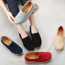 DQG Women Shoes 2018 Winter Flat Platform Sneakers Casual Slip On Loafers Ladies Shoes Solid Flats Zapatos De Mujer Espadrilles