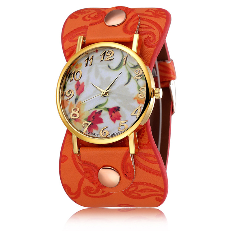 Flower Dial Woman Watches Etra Wide Leather Strap Ladies Quartz Watch Relogio Feminino Creative Watches For Women Montre Femme
