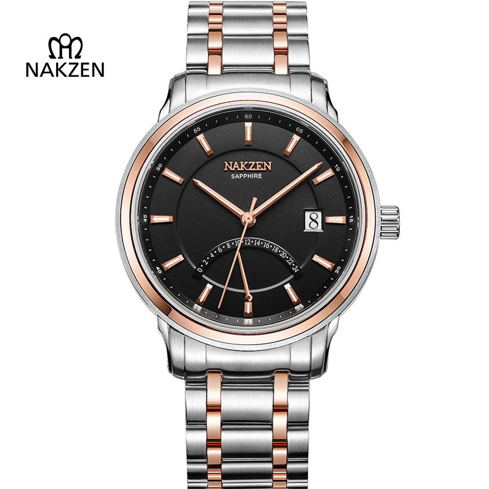NAKZEN Men's Sapphire Crystal Full Steel Quartz Watches Man Fashion Luxury Calendar Clock Male Waterproof Business Dress Watch nakzen men s automatic waterproof 50m watch man steel business dress mechanical clock male luxury sapphire diamond fashion watch