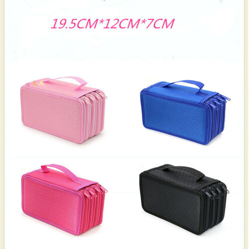 4 Layers 72 Pencil Brush Case Bag Organizer Storage Large Capacity Pen Case Holder Box Makeup Zip Cosmetic Stationary Pouch Bag