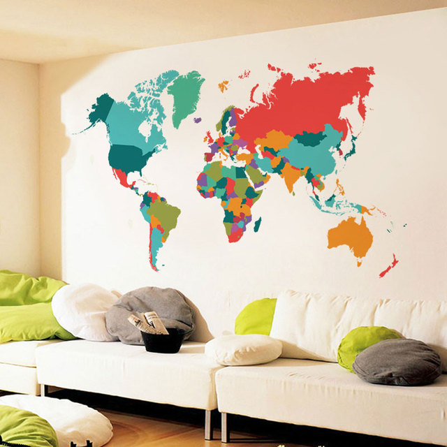 new large size 60107cm color world map wall stickers living room bedroom background wall