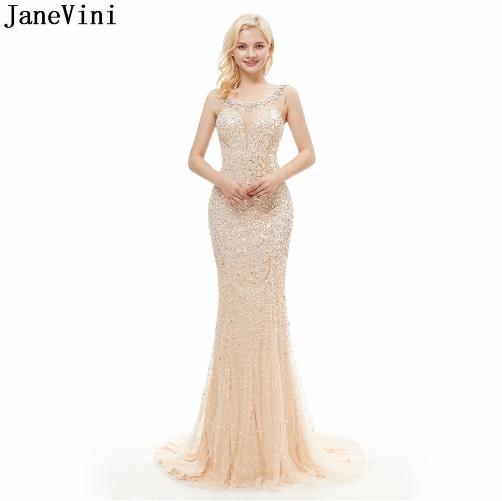 JaneVini Vintage Long   Bridesmaid     Dresses   Luxury Champagne Mermaid Prom   Dress   Beading Scoop Neck Sweep Train Formal Party Gowns