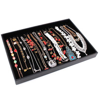 Fashion Jewelry Accessories Box Plate Black Velvet Necklaces Pendants Chain Jewelry Display Tray Holder Case Storage