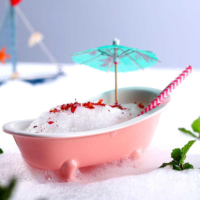 Originality 3D Realistic Bathtub Cocktail Glass Tiki Wine Cup Bar Charms Sorbet Smoothie Milkshake Cold Icecream Mug Container