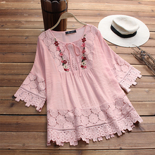 Fashion 2019 Spring Lace Crochet Top Women Vintage Blouse Female Casual Flare Long Sleeve Shirt Embroidery Patchwork Work Blusas