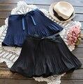 Новая коллекция весна Летняя Мода Юбка Высокой Талии Эластичный Пояс шнуровкой лук Юбка Женщины 2 Цвет плиссированные Юбки Saias Femme G188