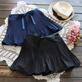 New  spring Summer Fashion Skirt High Waist Elastic Waist lacing bow Skirt Women 2 Color pleated Skirts Femme Saias G188