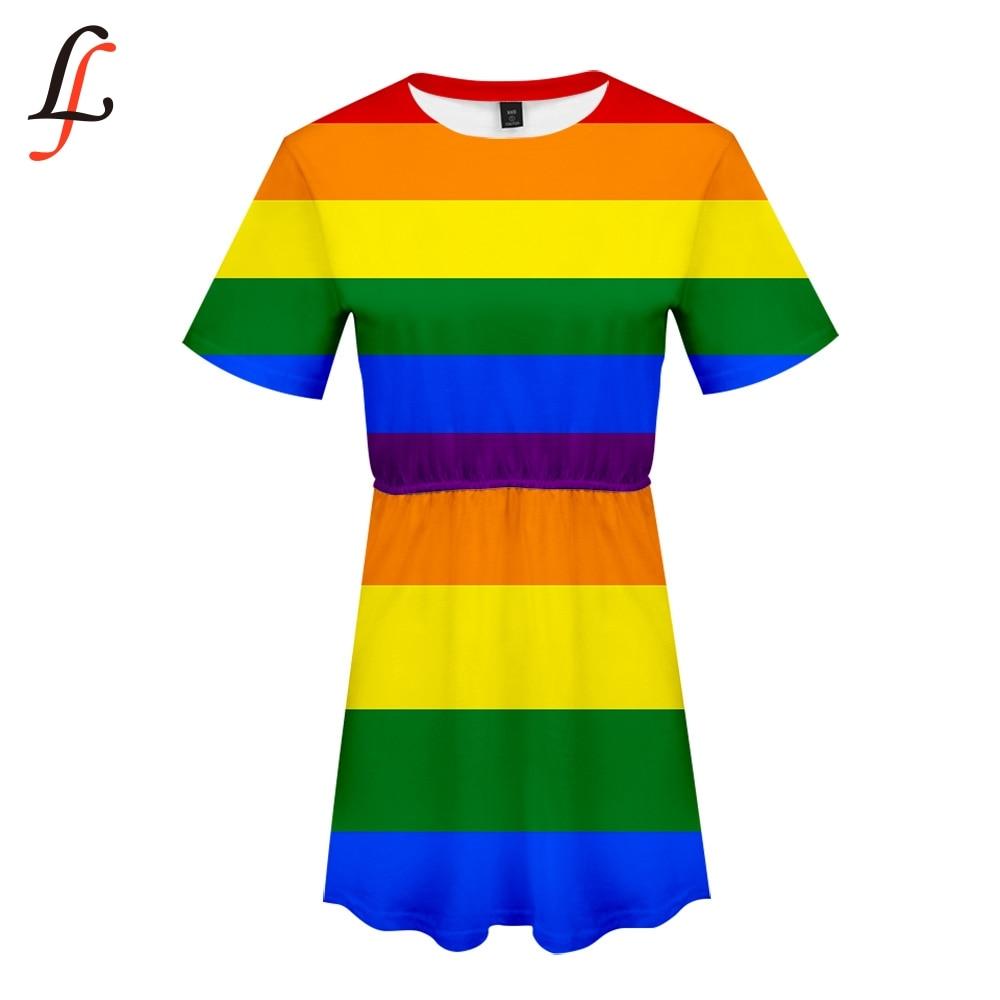 LGBT 3D Print Women Casual Summer Dress Fashion Trend Slim Short Sleeve Girl Dress Harajuku Hot Plus Size 4XL Summer Style Dress