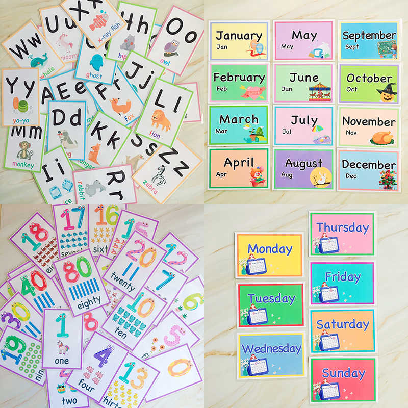 74Pcs 12 months/7 Days/Number/Alphabet Montessori Preschool Toys Learn English Pocket Flash Card for Children Educational Words
