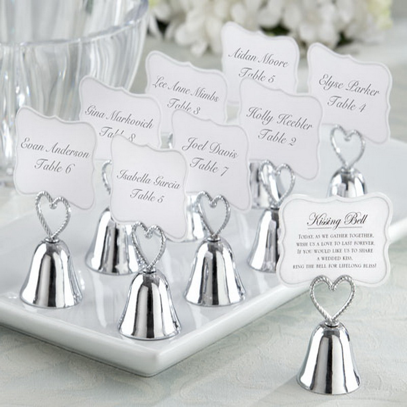 18pcs lot FREE SHIPPING Kissing Bell Silver Bell Place Card Holder Photo Holder Wedding Table Decoration