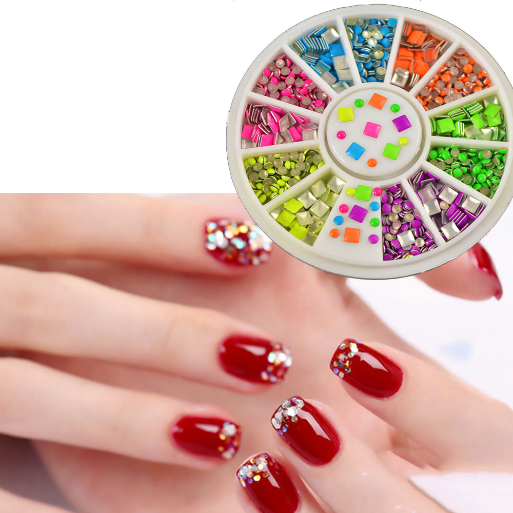 100 pcs 12 size 3d nail art tips gems crystal nail glitter for 3d nail art decoration