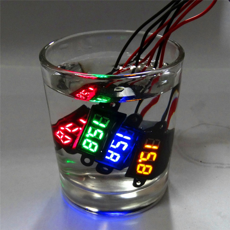 Waterproof 0.28 DC 3.5-30V Mini Digital LED Voltmeter Volt Meter 12V Car Moto Range Dc 3.50-30.0V Auto Electric Voltage Ammeter 5pcs dc 6 12v measuring range 2 wire connect red led digit voltmeter