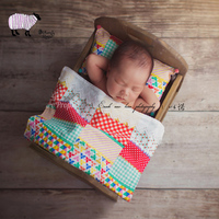 Newborn Baby Photography Retro Country Style Blanket and Pillow Set Props Baby Girl Boy Photo Shoot Backdrop Props bebe foto