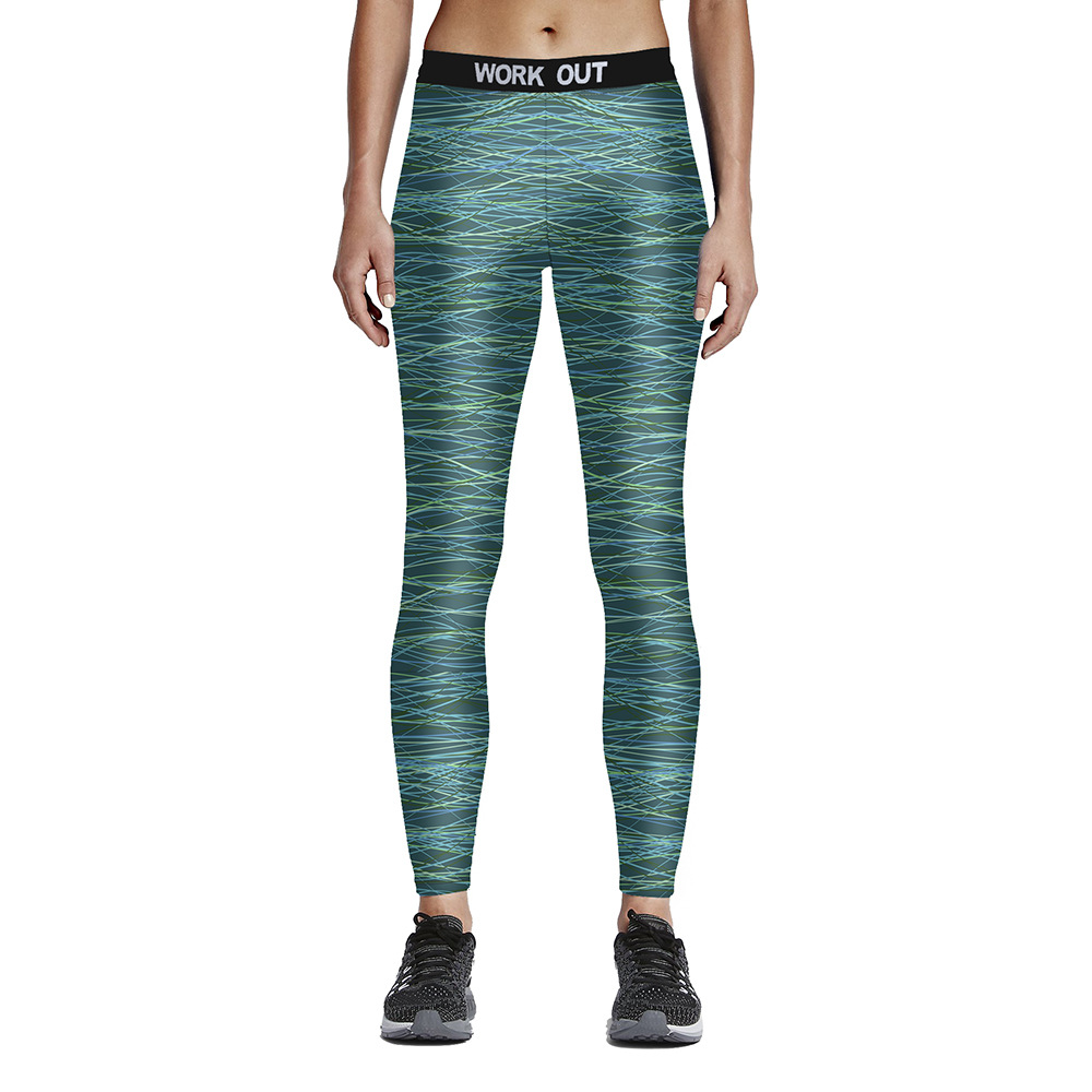 Unisex Yellow Blue Lines on Teal Fitness Leggings High Waist Elastic Fiber Aerobic Exercise Workout Pants Full Size S-4XL