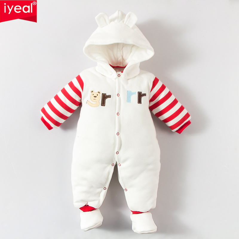 IYEAL Baby Winter Outerwear Newborn Clothes Infant Boys Girls Cotton Thick Padded Cute Bear Romper Kid Long-sleeve Warm Jumpsuit pudcoco newborn infant baby girls clothes short sleeve floral romper headband summer cute cotton one piece clothes