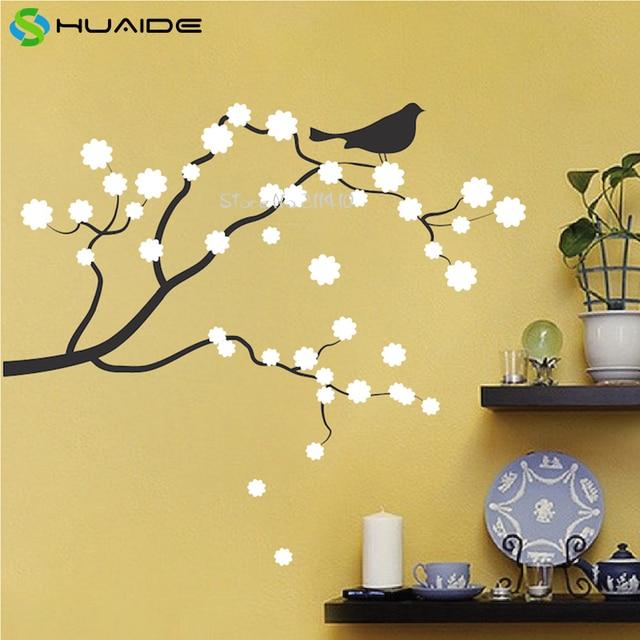Beautiful Flower Bird on Tree Branch Wall Sticker Home Deocr Living ...