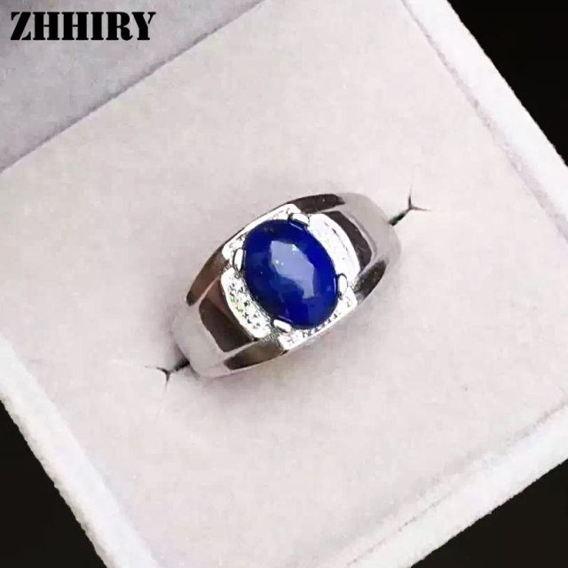 Men Natural Lapis Lazuli Ring Genuine Solid 925 Sterling Silver Blue Gemstone Men's Rings Fine Jewelry ZHHIRY