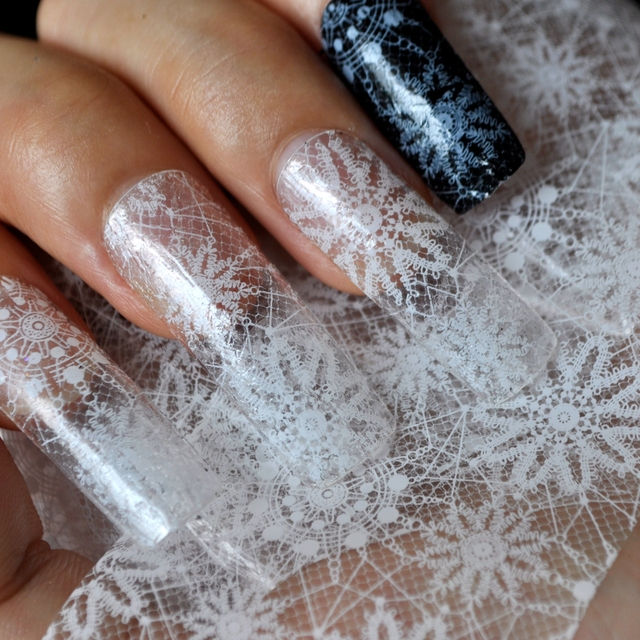 Bohemian style transparent white flower lace nail art stickers bohemian style transparent white flower lace nail art stickers transfer nail art foils craft decorations manicure prinsesfo Gallery