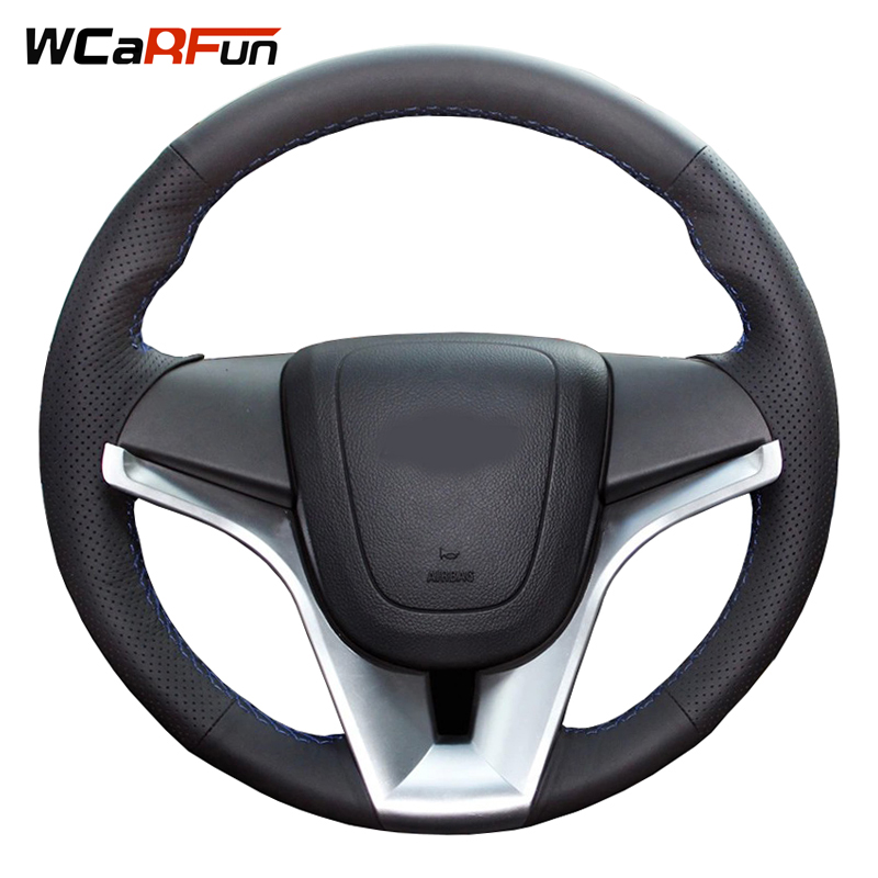WCaRFun DIY Customized Name Hand Sewing Black Leather Hand-stitched Car Steering Wheel Cover for Chevrolet Cruze Aveo