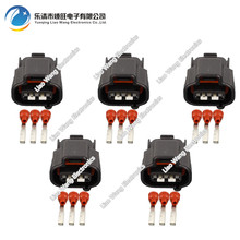 цены  5 Sets 3 pin  Automotive Connector Car Connector Plug 3P Black Sheath DJ7036FA-2.2-21 3P
