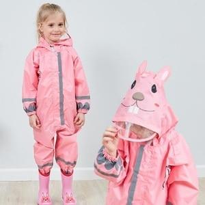 Image 3 - Winstbrok子供レインコートレインパンツ子供漫画防水レインウェア少女と少年ポンチョ不浸透性レインコート雨ジャンプスーツ