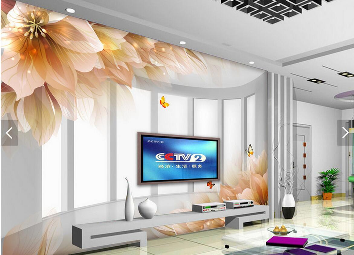 Embossed Lily Flower Butterfly Abstract Wall Mural Photo Wallpaper ...