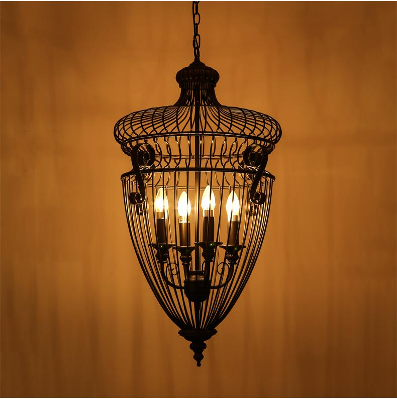 Chandelier Vintage Modern Lamp Shade Metal Light Pendant Lamps With Lampshade Country American Living Room Iron Cage цена и фото