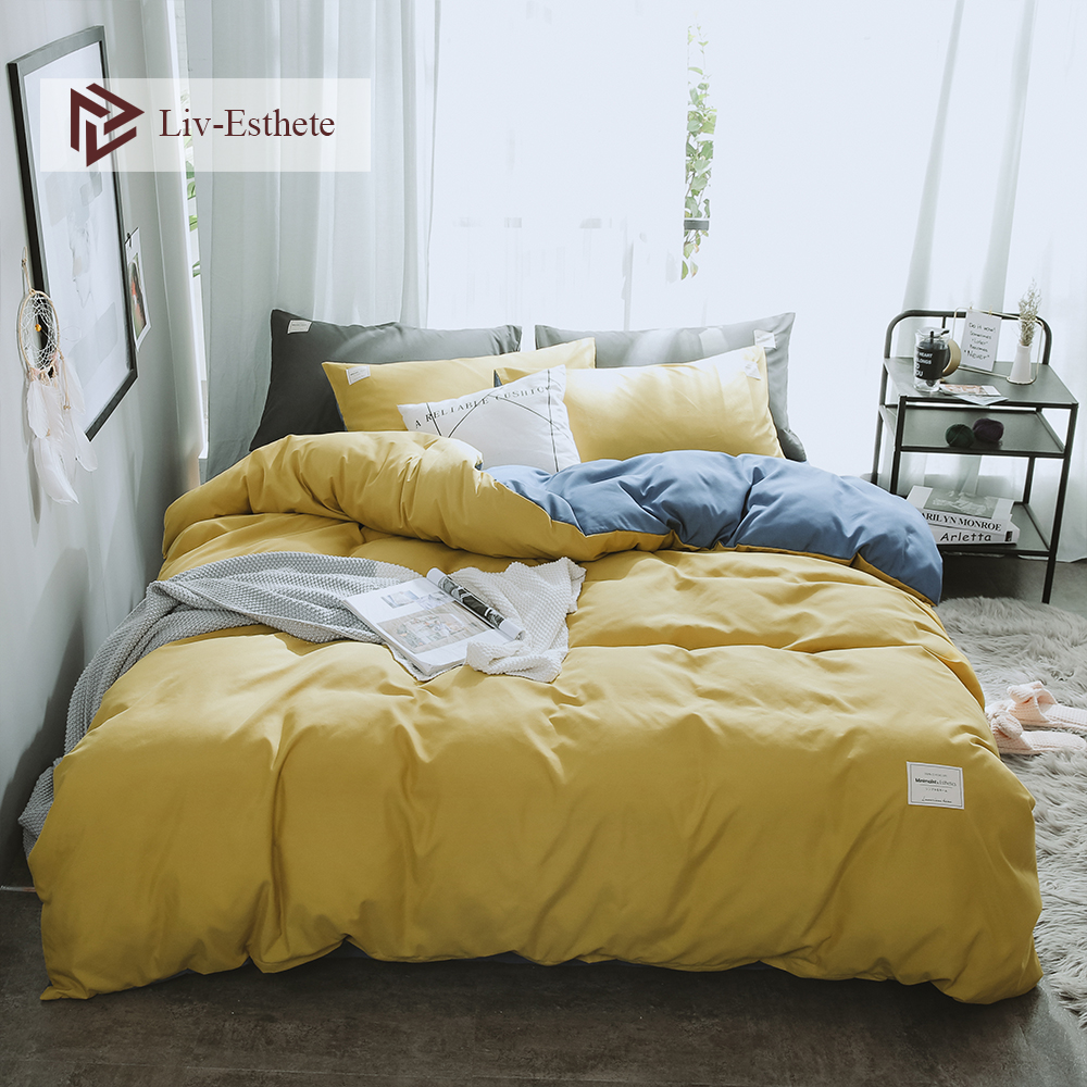 Liv Esthete A Yellow B Blue Luxury Bedding Set Home Duvet Cover Flat Sheet Bedspread Double Queen King For Adult Bed Linen