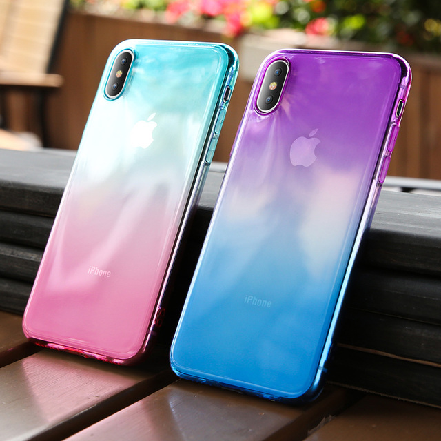 KISSCASE Gradient Color Phone Case For iPhone X Xr Xs Max Soft Silicone Cases For iPhone 6 6S 7