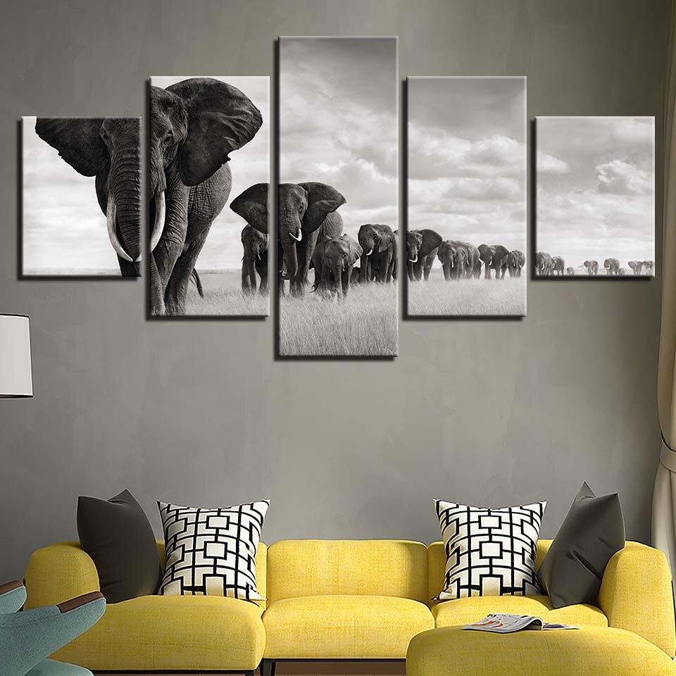 HD arte de la pared marco lienzo cuadros modernos 5 panel elefantes ...