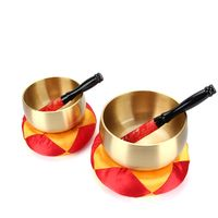 New Tibetan Buddhism Singing Bowl Hand Hammered With Cushion Set Yoga Copper Chakra Meditation Gift 4 Sizes