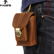 P.Kuone Men's Pockets Genuine Leather Belt Waist Bag Buckle mini man pocket Multi-function Leather purse Small Waist Bag 8161