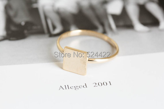 Min 1pc Gold/silver/rose-gold square ring jewelry wedding bands ring quadrangle