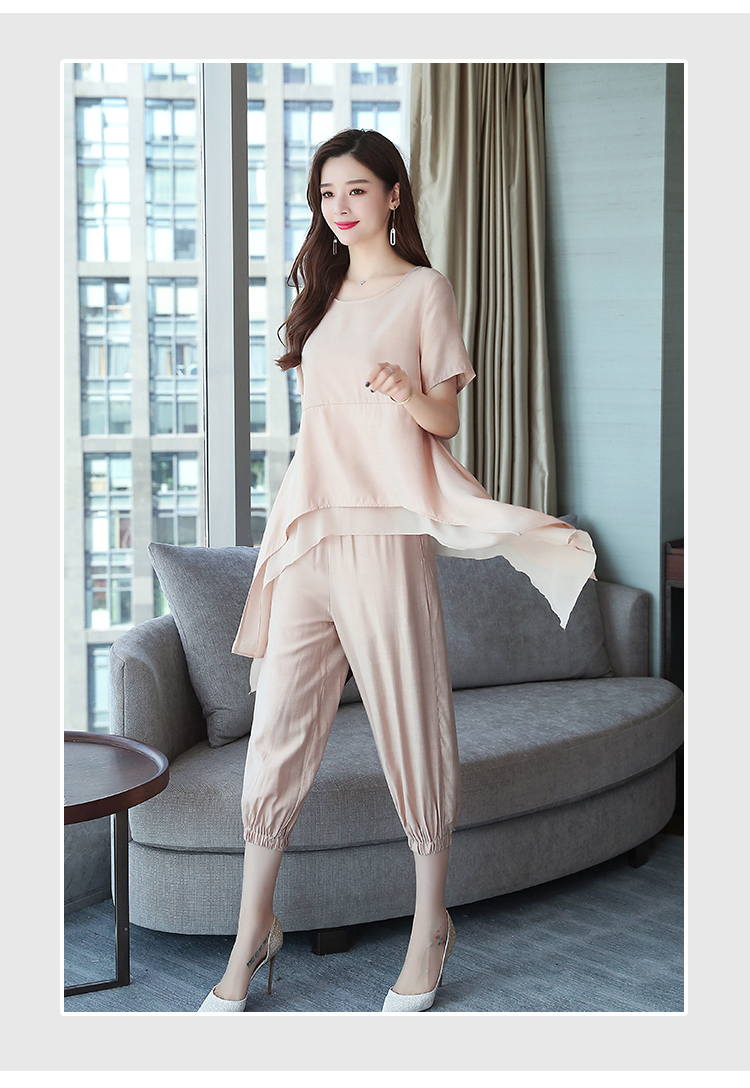 2019 Summer Linen Two Piece Sets Women Plus Size Short Sleeve Tops And Cropped Pants Suits Office Elegant Casual Women's Sets 54