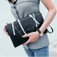 2018 New Women Clutch Genuine Leather Handbag Shoulder Bags for Fashion Envelope Bags Clutch Evening Bag Black/White Handbags