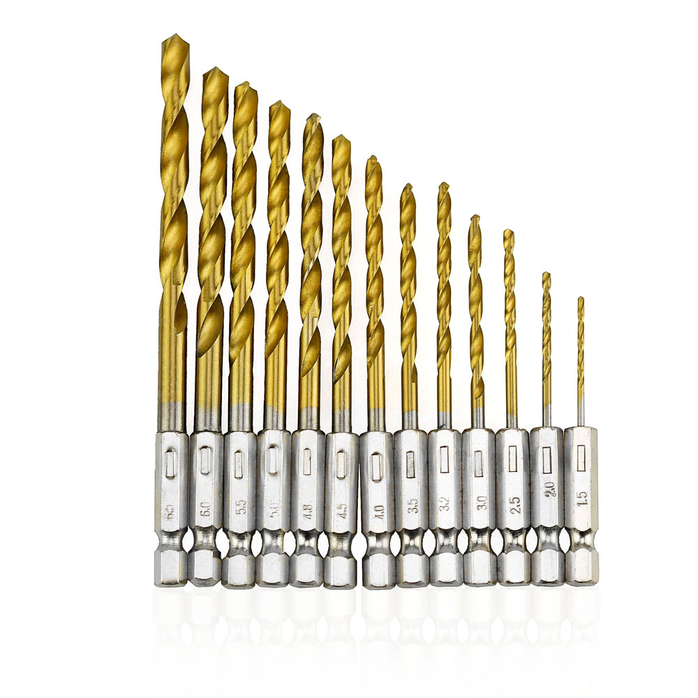Pro 13pcs/lot HSS High Speed Steel Titanium Coated Drill Bit Set 1/4 Hex Shank 1.5-6.5mm High Quality For Electric Dril