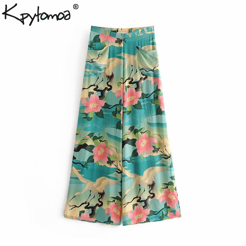 Boho Chic Summer Vintage Floral Crane Print   Wide     Leg     Pants   Women 2018 Fashion Side Zipper Pockets Lady Trousers Pantalones Femme