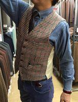 2019 New Wool Houndstooth Suit Vest Men Custom Made Vintage Plaid Tweed Vest Groom Wear Waistcoat for Rustic Wedding Plus Size